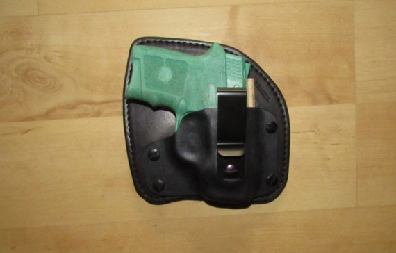 Leather and Kydex Holster for the Bodyguard 380, custom crafted from premium leather and deer hide backing for you comfort for EDC, IWB