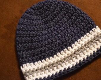 BYU Crochet beanie, Baby hat, Child beanie, Navy blue, BYU boys hat