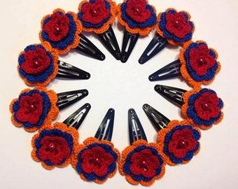 Crochet Hair Pins - Armenian Flag