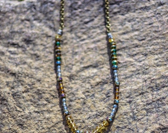 Riverstones...Gypsy, Bohemian, Blue, Green, Bronze, Gold, Czech Glass Beads, Necklace