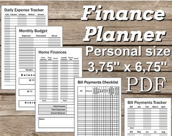 Finance Planner Personal Size 3,75'' x 6,75'' Printable PDF. Easy to Use. Personal Filofax Inserts. Undated. Grayscale. Instant Download.