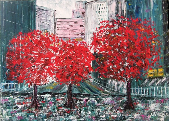 City Abstract art Original  painting Red trees Autumn park Street cityscape architectural paintings Wall art  Gifts for men Best gift ideas