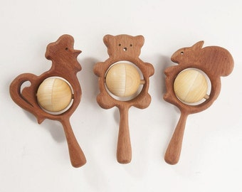 Wooden teether. Teething toy. Wooden Rattle. Rattle for newborn. Rattle for baby. Wooden bear. baby rattle