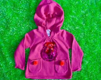 2t Ugly Christmas Sweater, kids, toddlers, girls, stocking, Pink, red, ornament, hood