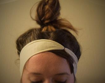 White Upcycled Turban Headband