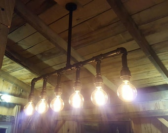 Industrial Lighting Rustic Kitchen Island Ceiling Light- Modern Industrial Edison Bulb Kitchen Chandelier- Farmhouse Lighting- FREE SHIPPING