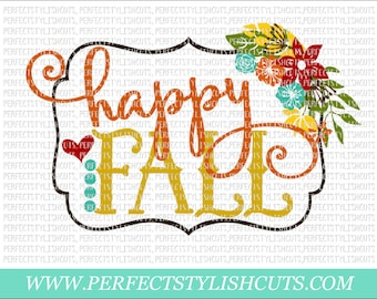 Happy Fall SVG, DXF, EPS, png Files for Cameo and Cricut - Turkey Svg, Thanksgiving Svg, Fall Svg, Autumn Svg, Pumpkin Svg, Flowers Svg