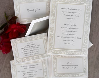 Pearlized White Damask Elegance Wedding Invitations - Formal Wedding Set - Traditional Wedding Invite Suite - AV1717