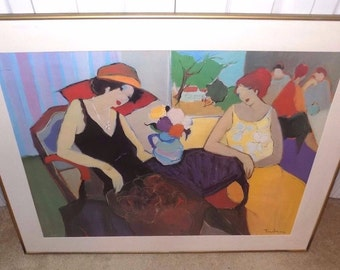 Exquisite Itzchak Tarkay Large 24x32 Relaxing Women Colored Serigraph Print Signed