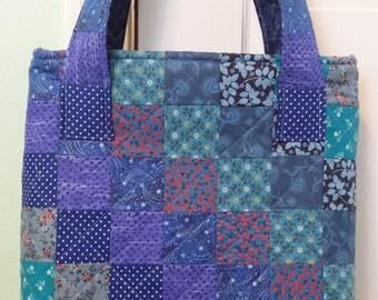 Blue Patchwork Bag, Blue Patchwork Purse,Patchwork Handbag, Blue Handbag,  Blue Bag, Bag