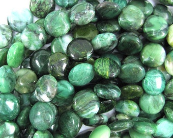 """14mm green african jade coin beads 15.5"""" strand 32293"""
