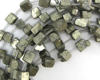 """10-13mm natural gold pyrite nugget beads 16"""" strand 12829"""