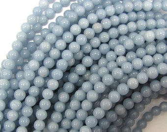 "6mm blue angelite round beads 16"" strand 31421"