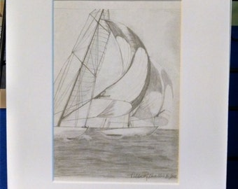 Sail Boat print 5x7 matted to 8x10