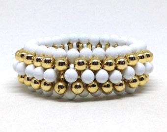 Charming White Golden Bead Linked Vintage Estate Stretch Bracelet