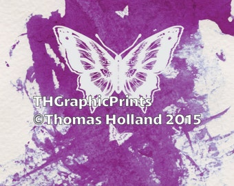 Silhouette Butterfly on Watercolor Print Decoration
