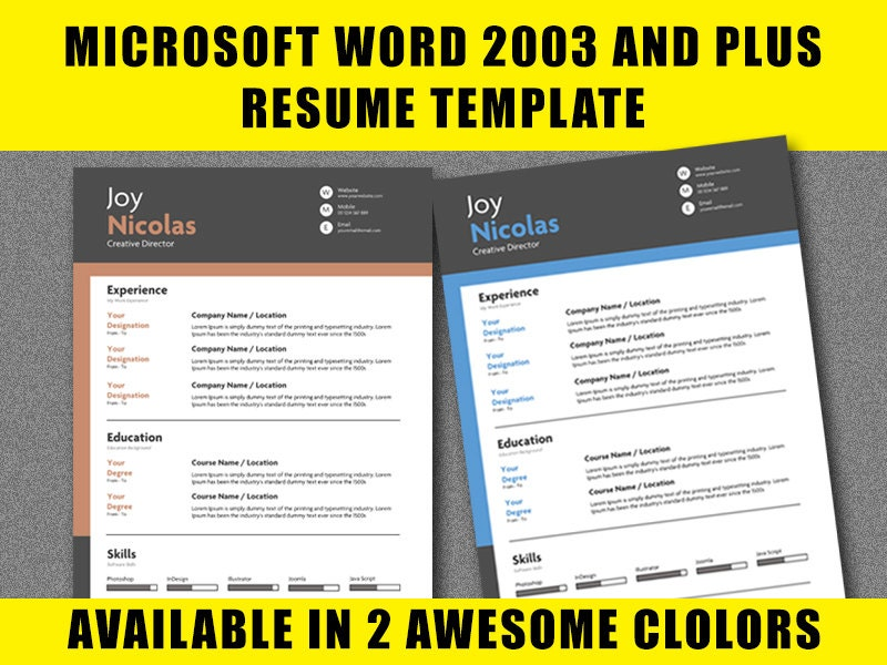 resume template microsoft word 2003 28 images 17 best