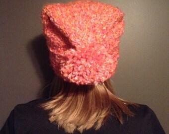 Pink/Orange Winter Hat with Pom Pom