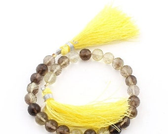 NEW SALE 1 Strand  Bio Lemon Quartz & Smoky Quartz Faceted Rondelle 7mm-9mm  BRL026