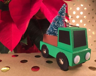 Green Truck with Christmas Tree Ornament