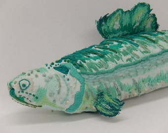 Hand embroidered textile fish