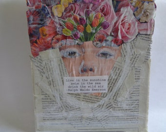 Handmade, one of a kind, collage/mixed media art piece