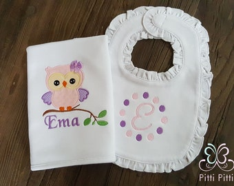 Baby Girl  Personalized Owl set burp cloth and bib - Appliqued Owl Burp cloth & ruffle bib
