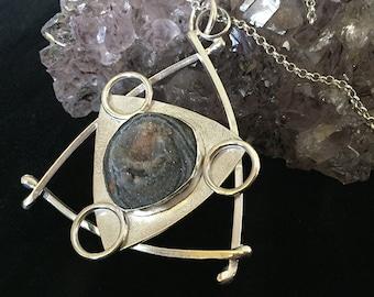 Sterling Silver Pendant with natural Druzy Quartz; silver jewellery; pendant; quartz; druzy; triangle; modern; ooak; mineral