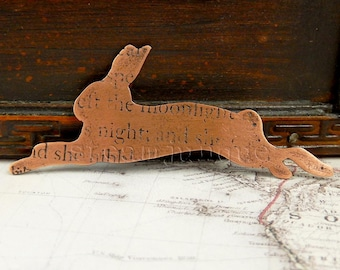 Copper hare brooch, hare brooch, hare jewellery, text jewellery, poetry jewellery, antique style, ancient style.
