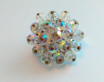 3cm Vintage brooch, vintage pin, 50s brooch, 50s pin, rhinestone pin, crystal brooch, wedding, bride, bridal, wedding pin, aurora borealis