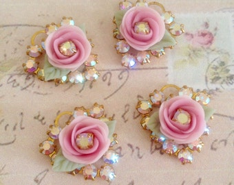 2 sparkly swarovski ab aurora borealis crystal hearts in brass setting with pink porcelain rose charm no.mh621-8