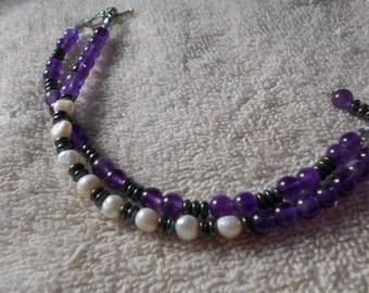 Bracelet, amethyst and pearls