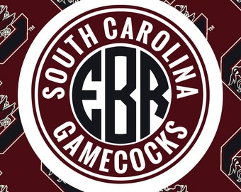 South Carolina Gamecocks Monogram Frame Cutting Files in Svg, Eps, Dxf, Png for Cricut & Silhouette | Gamecocks Vector | SC Graphics