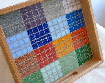 Cherry Wood Serving Tray in Geometric Mosaic Pattern