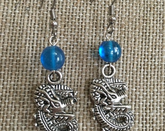Silver dragon drop earrings