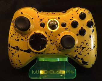 Brand New Xbox 360 Controller,Painted in Pearl Nebula Yellow and Black Splash+Custom Yellow LED Mod.