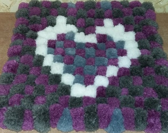 Rug of pompons.Handmade.free shipping