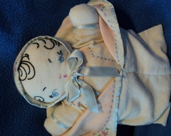 Antique rag doll baby9 inches  in bunting with embroidery and tinting detail