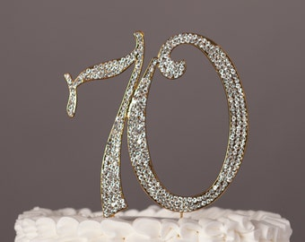 70 Cake Topper, 70th Birthday or Anniversary Party Decorations, Gold Rhinestone Metal Number, Party Supplies and Decoration Ideas
