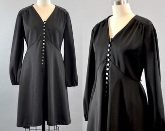 Vintage 1960s Long Sleeve Yoke Waist Black Dress. Long Bishop Sleeve. V-neck Black Dress. Little Black Dress.