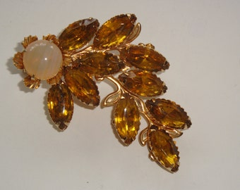 Vintage Beau Jewels Amber and Opal Spray Brooch