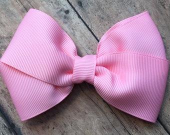 Pink Hair Bow on Metal Clip, Elastic Headband or Hair Tie; Buy 3 Get 1 Free! Pink Hair Bow, Large Pink Hair Bow, Pink Hair Clip