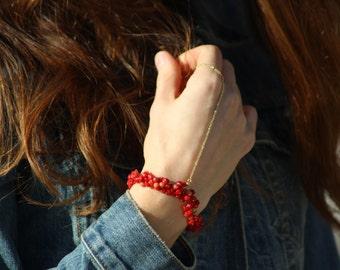 100% Handmade chain bracelet - red