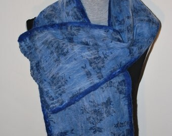 SALE 50% Nuno Felted Eco Superfine Merino Wool and Silk/Shiffon Scarf OOAK