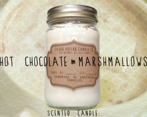 Scented Candle Hot chocolate Marshmallow // 16oz \ Soy Wax Candles | Chocolate, marshmallow, book lover gift, women gift, candle