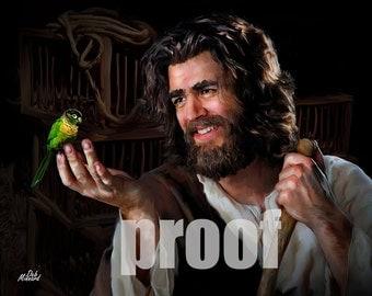 Jesus with  bird