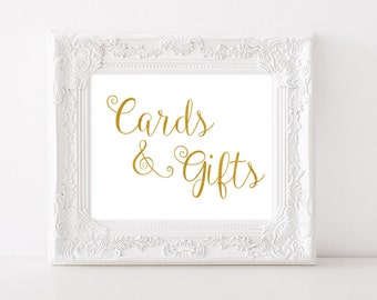 Gold Wedding Cards and Gifts Sign Printable Gold Cards and Gifts Sign Instant Download  Wedding Reception Sign Gold Foil Calligraphy