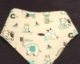 Blue Baby Bandanna Bib With Terrycloth Backing