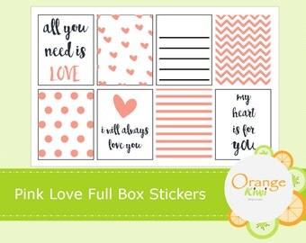 Pink Love Full Box Stickers for Erin Condren Life Planner, Valentine's Planner Stickers
