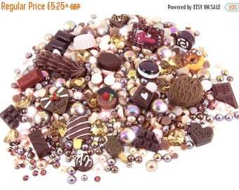 15% OFF SALE - Chocoholic Kawaii Cabochon Rhinestone Pearl Set Kit DIY Decoden Kawaii Craft Mix